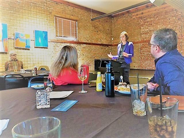 Mary Daugherty speaks at DemBiz meeting